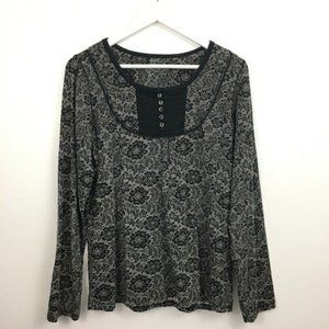 Denim & Company Floral Pullover Blouse